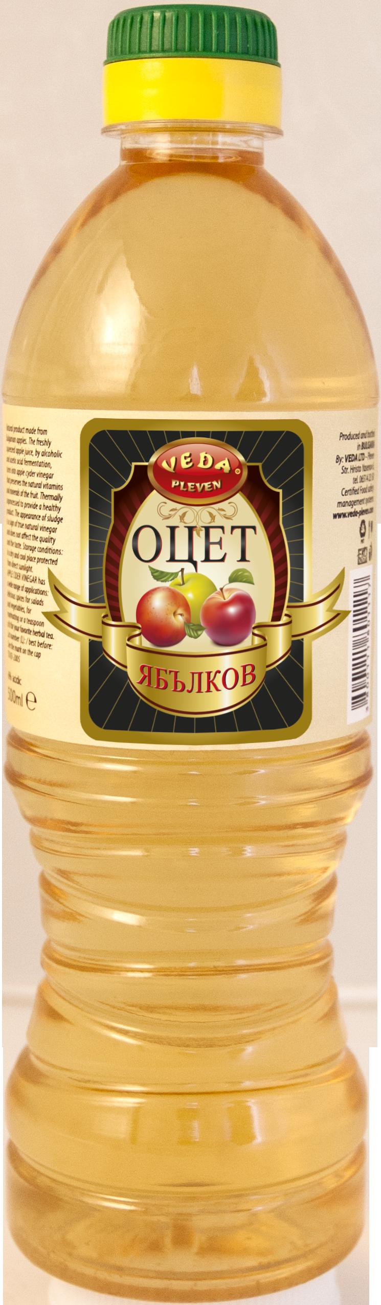 """Уксус Яблочный 5% 0,5 литров /ПЭТ ТМ """"VEDA"""""""