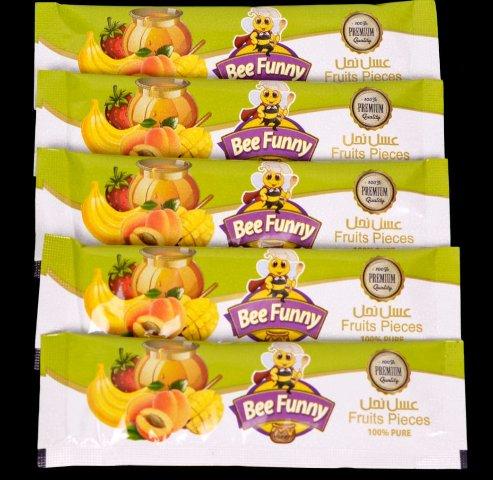 Мед FruitsPieces BeeFunny с бананом, манго, абрикосом и клубникой.