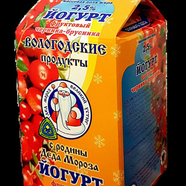 """Йогурт 2,5% фруктовый """"Черника-брусника"""""""