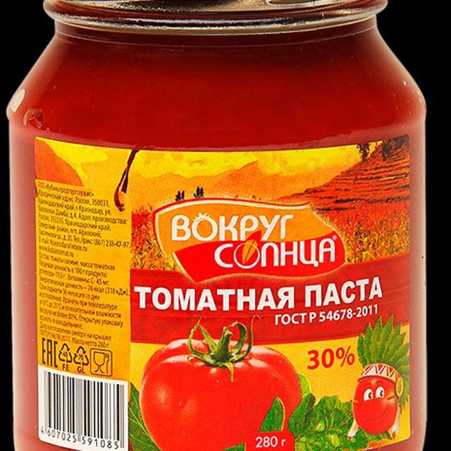 """Томатная паста """"Вокруг солнца"""" ГОСТ 30% 280г стеклобанка"""