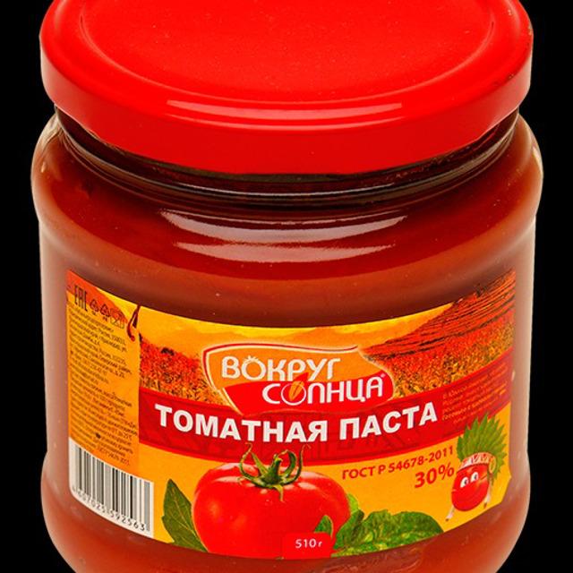 """Томатная паста """"Вокруг солнца"""" ГОСТ 30% стеклобанка 510г"""