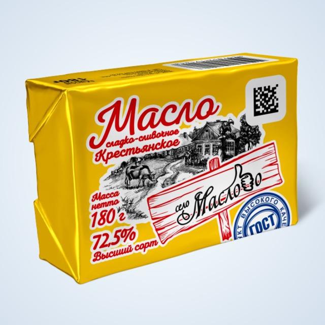 Масло сладко-сливочное Крестьянское, высший сорт, 180 г.